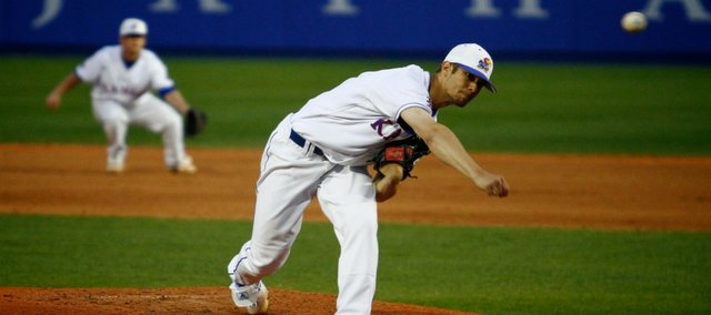 KU pitcher T.J. Walz delivers during the game against Texas A&M on Thursday, April 1, 2010, at Hoglund Ballpark.