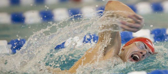 Lawrence High junior Zach Andregg competes in the Boys 500 freestyle event at the 6A state preliminaries at the Capitol Federal Natatorium in Topeka. Andregg qualified to compete in the finals with a time of 4:49.74.