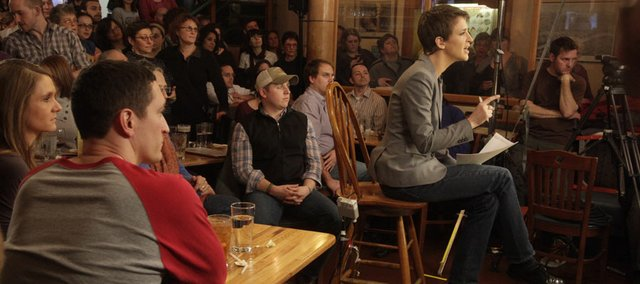 Rachel Maddow hosted her MSNBC show at Free State Brewery on Wednesday, discussing current national and state issues, such as union rights and abortion rights. Maddow said she has been following the ethics hearings of former Kansas Attorney General Phill Kline.