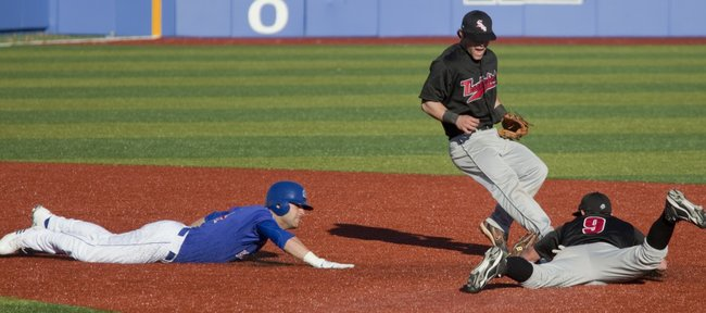 Kansas runner Jake Marasco, left, is caught off base after Southern Utah caught a line drive and doubled him up at second base. Nonetheless, KU swept Southern Utah on Tuesday, March 1, 2011 in a doubleheader at Hoglund Ballpark.