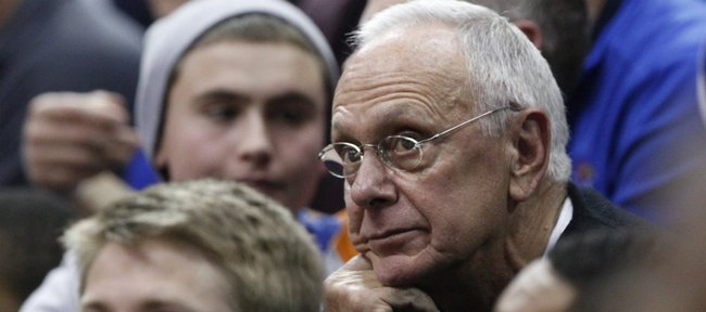 Former Kansas men's basketball coach Larry Brown takes in the action of the KU-Texas A&M game Wednesday, March 2, 2011 at Allen Fieldhouse.