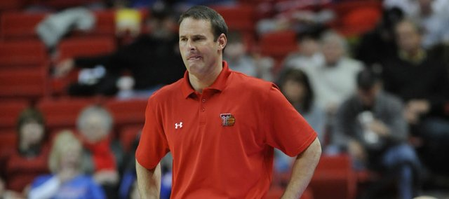 Texas Tech head coach Pat Knight shows his frustration against Kansas on Tuesday, Feb. 1, 2011 in Lubbock, Texas.