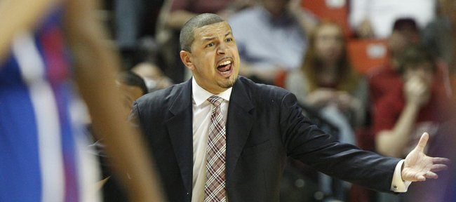 Oklahoma head coach Jeff Capel lays into an official during the second half on Saturday, Feb. 26, 2011 at the Lloyd Noble Center in Norman, Okla. Capel received a technical for the outburst.