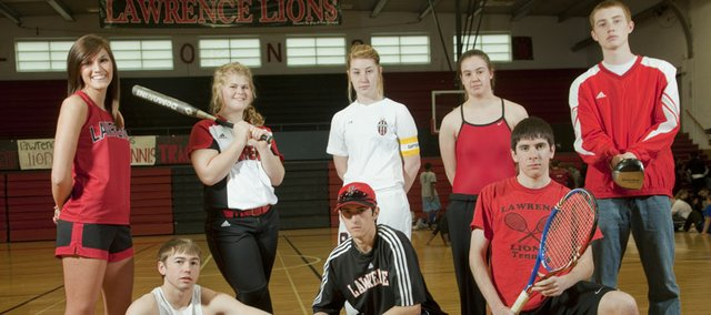In Front row, from left, Lawrence High's Trent Edwards (track and field), Ross Johnson (baseball) and Ilan Rosen (boys tennis) figure to make an impact on their respective sports this spring. In the back row, from left, is Alexis Scheibler (girls track), Kasey Waite (softball), Clare Payne (girls soccer), Mallory Neet (girls swimming) and Logan Henrichs (boys golf).