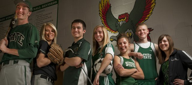 From left, Free State's Colin Toalson (baseball), Paige Rothwell (softball), Jake Sakamura (boys golf), Annie Libeer (girls soccer), Hayley Francis (girls track), Austin Hoag (boys track) and Katy Thellman (girls swimming) figure to impact their sports this spring.