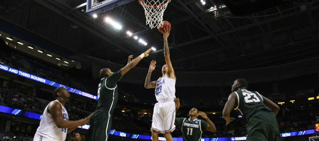 UCLA's Tyler Honeycutt (23) shoots during the second half of a Southeast regional second-round NCAA tournament college basketball game in Tampa, Fla., Thursday, March 17, 2011. UCLA defeated Michigan State 78-76.