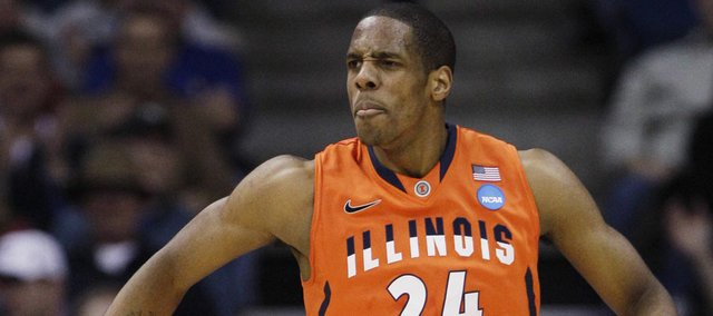 Illinois forward Mike Davis reacts to actin against UNLV in the first half of a Southwest Regional NCAA tournament second round college basketball game, Friday, March 18, 2011 in Tulsa, Okla.