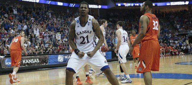 Kansas forward Markieff Morris celebrates after a dunk against the Illinois defense during the second-half, Sunday, March 20, 2011 at the BOK Center in Tulsa, Okla.