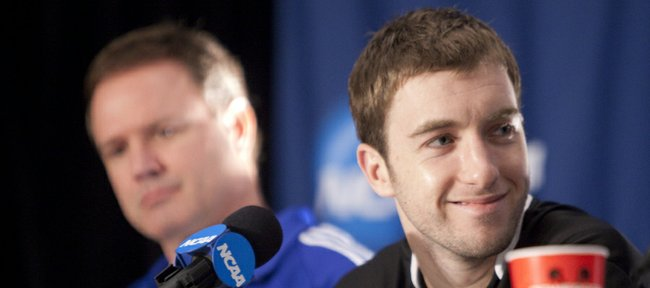 Kansas guard Brady Morningstar smiles during a press conference with his teammates and head coach Bill Self on Saturday, March 26, 2011 at the Alamodome in San Antonio.