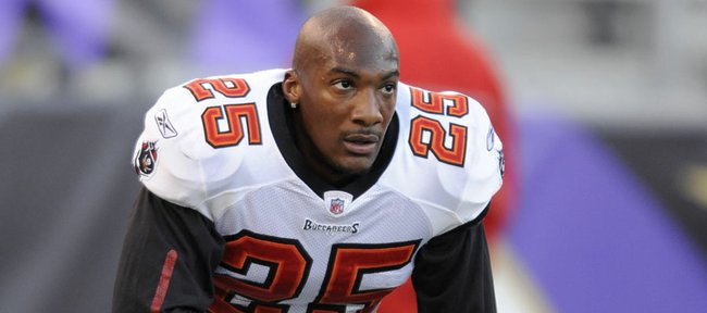 In this Nov. 28, 2010, photo, Tampa Bay Buccaneers cornerback Aqib Talib pauses before Tampa Bay's NFL football game against the Baltimore Ravens in Baltimore. Talib was traded to the New England Patriots on Thursday.