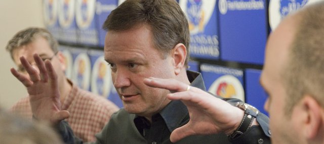 Kansas head coach coach Bill Self visits with reporters after a press conference Tuesday, March 29, 2011 at Allen Fieldhouse. Self was asked about this year's tournament, his players and thoughts on next year's roster.