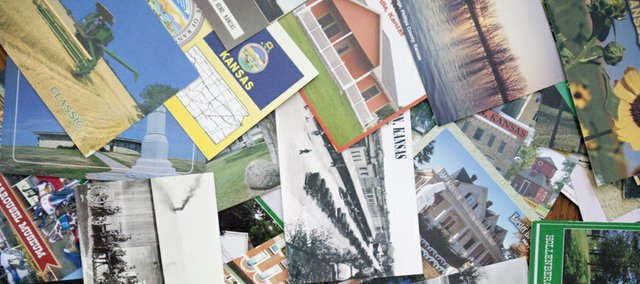 A collection of postcards from around the state. Charlene and John Van Walleghen hope to send themselves a postcard from every county in Kansas. They're about 55 percent of the way toward reaching their goal.