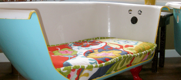 Ruff House Art, a local Lawrence company, takes discarded cast iron clawfoot  bathtubs and turns them into chic couches. The company is competing in The Green is Universal Contest.