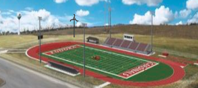 Teachers at Eudora High School are working on plans to install a turbine next to the school district's stadium. The 2.4 kilowatt wind turbine could provide enough electricity to power the stadium's concession stand and some of their lights.