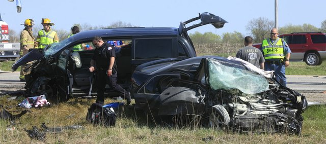 A two-vehicle accident about 3:30 p.m. on Kansas Highway 10 east of Eudora Saturday, April 16, 2011, claimed the lives of two people. Three others were seriously injured.