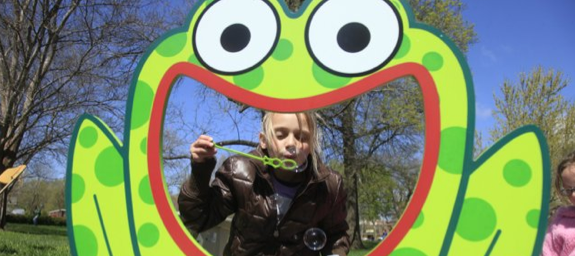 Josie Abernathy 9 of Lawrence, enjoyed blowing some bubbles during earth Day Activities in South Park on Saturday April 16, 2011.
