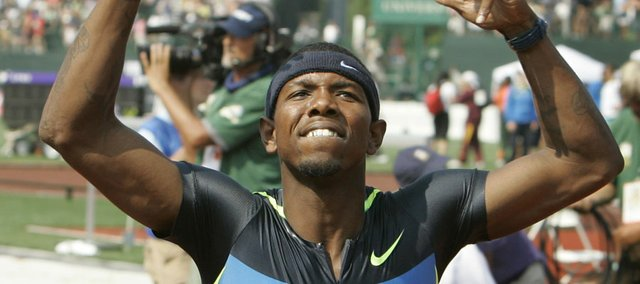 "Bershawn ""Batman"" Jackson celebrates after winning the men's 400-meter hurdles at the U.S. Olympic Track and Field Trials Sunday, June 29, 2008 in Eugene, Ore, where he qualified for his first Olympic Games."