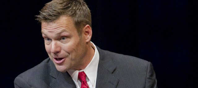Kansas Secretary of State Kris Kobach, spoke at the Lied Center about the economic and security effects of illegal immigration Tuesday, April 12, 2011.
