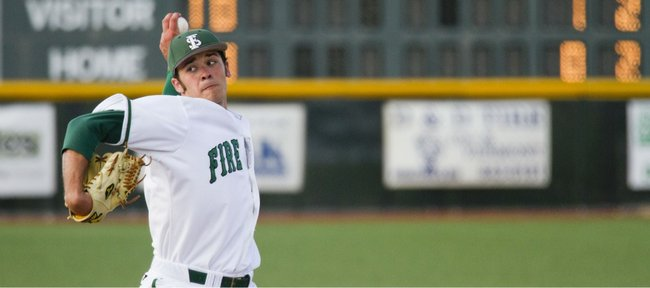 Free State pitcher Cody Kukuk delivers against Shawnee Mission West on Thursday, April 28, 2011 at FSHS.