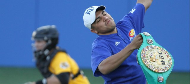 WBC welterweight champion Victor Ortiz waves to the Hoglund Ballpark crowd after being introduced during KU's game against Wichita State on Tuesday, May 3, 2011.
