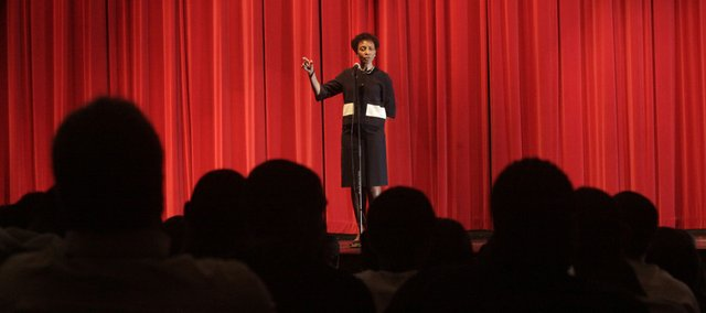 "Kansas University Chancellor Bernadette Gray-Little was at Lawrence High School Thursday, May 5, 2011, talking to students participating in the ""Can We Talk?"" program."