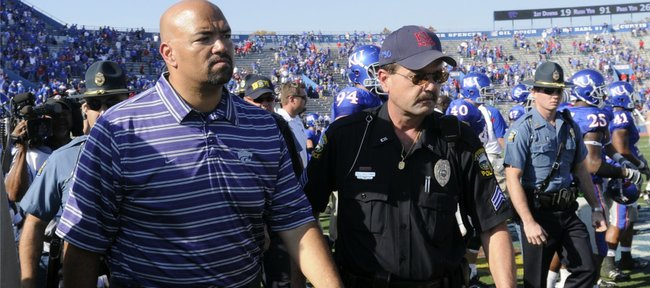 Then head Kansas State football coach Ron Prince leaves Kivisto Field following the Wildcats' 52-21 loss to the Jayhawks on Saturday, Nov. 1, 2008 at Memorial Stadium in this file photo.