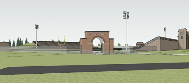 This architectural rendering from Treanor Architects shows plans for an arched entryway at Lawrence High School's stadium. This view looks at the stadium from the southeast. The project is being financed through donations generated through LHS Building on Traditions.