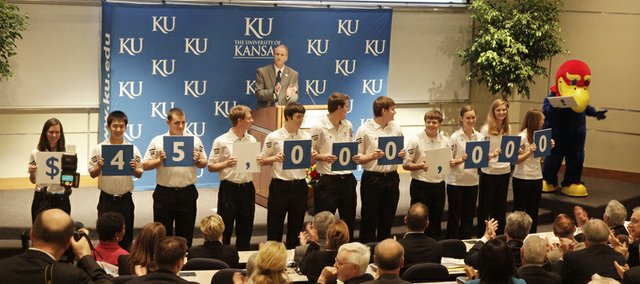KU School of Engineering Dean Stuart Bell, with the help of a few students, announces that Charles and Mary Jane Spahr have given $45 million in total gifts to the university. The Spahrs' estate gave $32 million, the largest estate gift in KU's history, to the School of Engineering Friday, May 13, 2011.