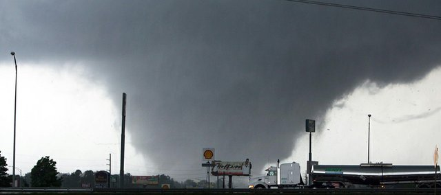 A tornado moves through Tuscaloosa, Ala., Wednesday, April 27, 2011.