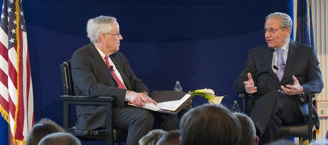 Washington Post associate editor Bob Woodward, right, delivered the 2011 Dole Lecture on Sunday at the Robert J. Dole Institute of Politics. At left is Dole Center Director Bill Lacy.