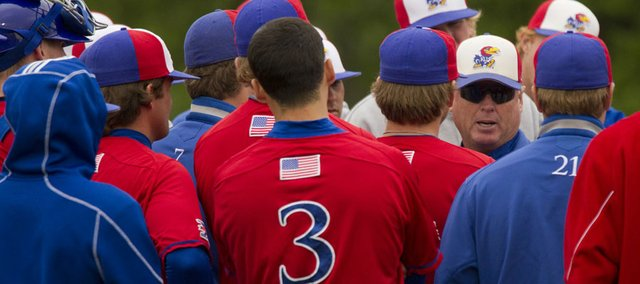 Kansas baseball head coach Ritch Price speaks to his team in this 2011 file photo.