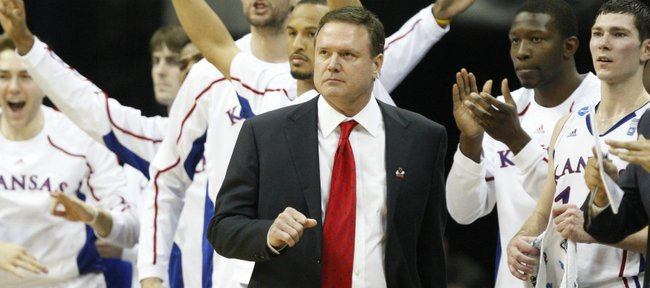Kansas head coach Bill Self watches with the bench as the Jayhawks make a run against Illinois during the second half on Sunday, March 20, 2011 at the BOK Center in Tulsa.