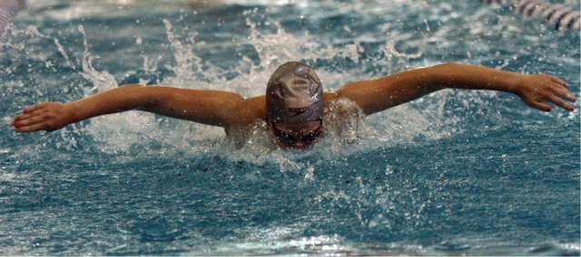 Free State senior Kara Mishler swims the 200 butterfly medley relay at the 2011 6A girls state prelims Friday, May 20 at Hummer Park.