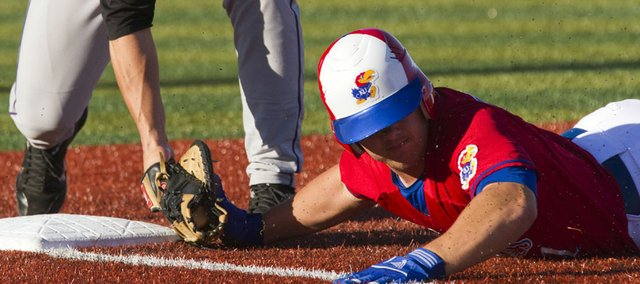Kansas Jason Brunansky is picked off at first base during Kansas game against Kansas State Sunday, May 22, 2011 at Hoglund Ballpark. The Jayhawks fell in the season finale 10-6.