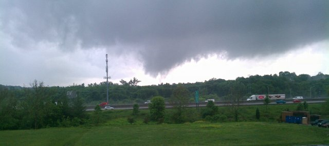 This photo, taken by Mike Illig, shows a funnel cloud forming over Leawood near I-435 and Mission Road Wednesday, May 25, 2011.
