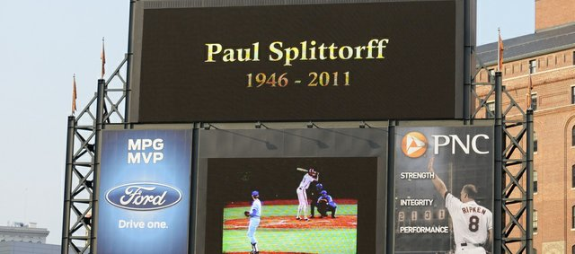 The Orioles scoreboard Honors former Kansas City pitcher Paul Splittorff before the Royals' game against the Orioles on Wednesday in Baltimore. Splittorff passed away Wednesday of complications from skin cancer.