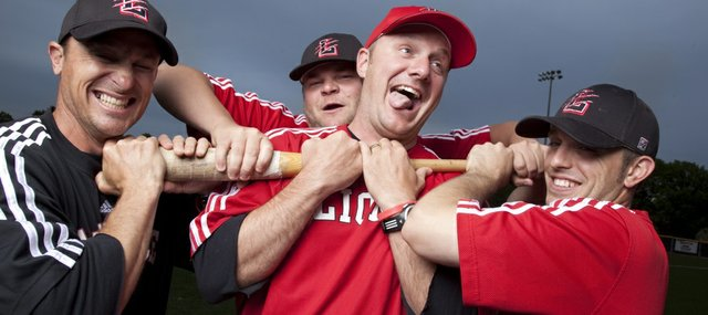 Members of the the Lawrence High baseball coaching staff: head coach Brad Stoll, center, Adam Green, left, Brandon Johnson and Chris Johnson. LHS will face Shawnee Mission West in the Class 6A state tournament on Friday at Kansas University's Hoglund Ballpark.