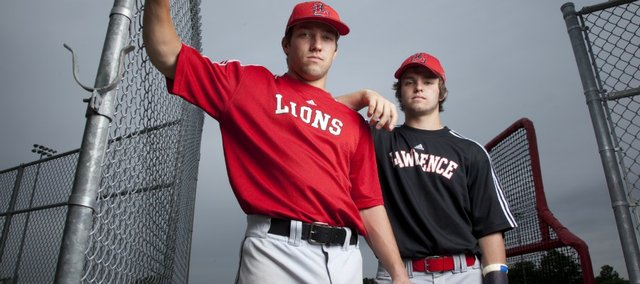 Brothers and Lawrence High teammates Troy Willoughby, left, a junior, and Shane Willoughby, a sophomore, have made it together to the 2011 Class 6A state baseball tournament. Shane has a broken left thumb, but hopes to get participate in the tournament as a pinch runner.
