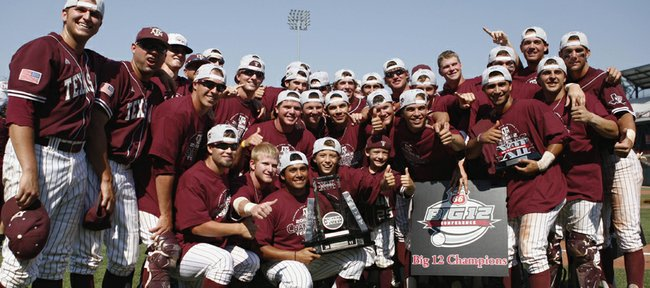 Texas A&M celebrates after defeating Missouri, 10-9, in the Big 12 baseball tournament Sunday in Oklahoma City.