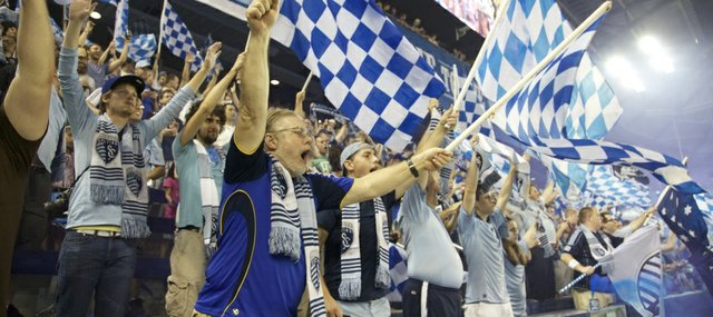 The Kansas City Cauldron cheer on Sporting KC in its stadium opener against the Chicago Fire. The two teams played to a 0-0 tie on Thursday at Livestrong Sporting Park in Kansas City, Kan.