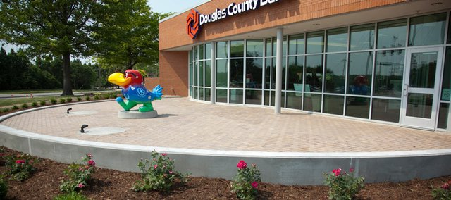 The patio on the west side of the Douglas County Bank building located at 1444 Kasold Drive was built with a permeable paver system, which is beneficial in reducing stormwater runoff and in filtering the water as it soaks through the ground.