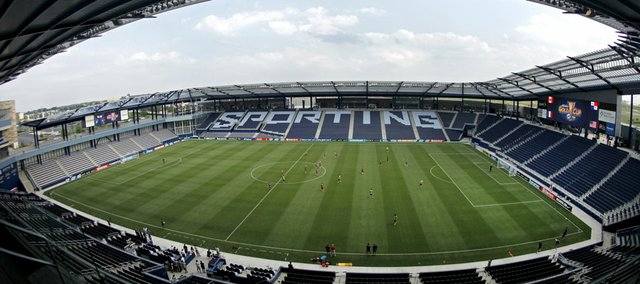 Members of the United States national soccer team run drills during practice at the new Livestrong Sporting Park on Monday in Kansas City, Kan. The U.S. will face Guadeloupe today in the CONCACAF Gold Cup Tournament.