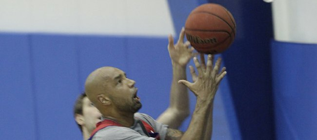 Former Kansas forward Drew Gooden goes up for two points during the KU men&#39;s basketball camp scrimmage on June 15, 2011 at Horejsi Center.
