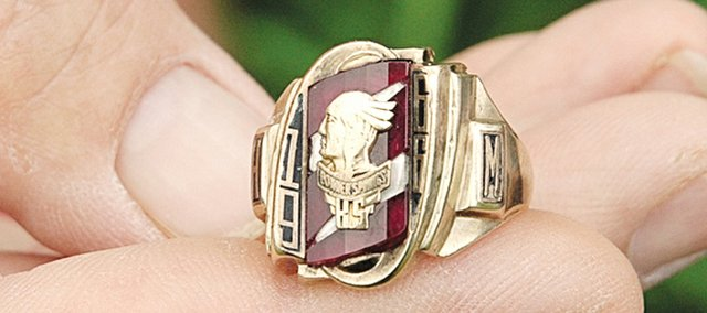 This class ring belonging to Herby Morris of Bonner Springs spent about nine years buried in the ground and another 35 with an Illinois man, Craig Schwartz, before Bonner Springs resident Jay Smith stumbled across Schwartz's online post seeking the owner.