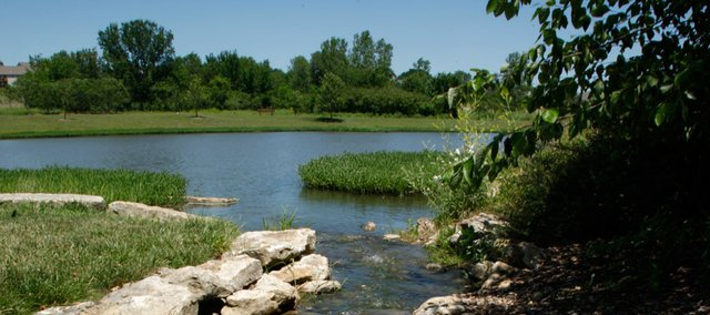 A flowing stream empties into the lake at the Lawrence Rotary Arboretum, 5100 West 27th Street.
