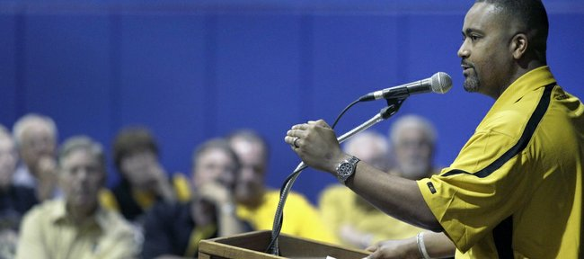 In this April 28 file photo, Missouri coach Frank Haith talks to supporters at an event in Mendon, Mo. Haith added three transfers to the Tigers' roster on Tuesday.