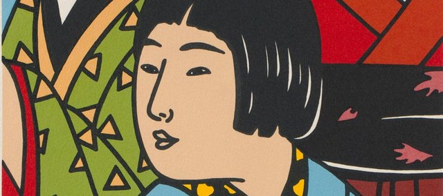 """For Dorthea"" by Roger Shimomura. This piece and others will be on display as part of the Lawrence Lithography Workshop's ongoing exhibit at the Belger Arts Center, 2100 Walnut St., Kansas City, Mo."