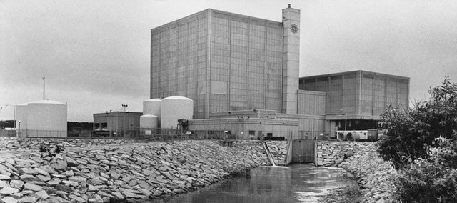 "This July 12, 1979 file photo shows the Pilgrim nuclear power plant in Plymouth, Mass. In 2007, when Entergy Nuclear Operations sought a license extension for the Pilgrim reactor, it wrote: ""The original 40-year license term was selected on the basis of economic and antitrust considerations rather than on technical limitations."" Yet writers seemingly contradicted themselves in the same document: ""During the design phase for a plant, assumptions concerning plant operating durations are incorporated into design calculations for plant systems, structures and components."""