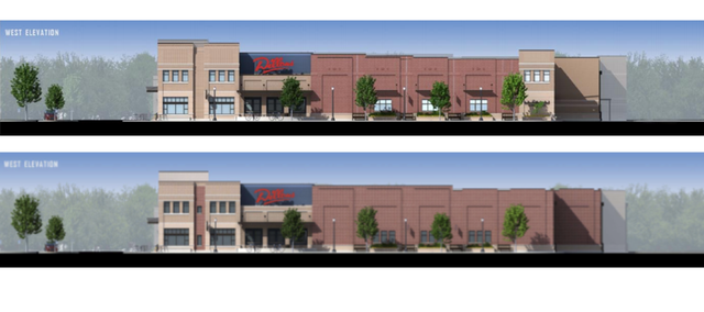 Dillons has provided new renderings to the city of Lawrence for what they expect their redesigned Massachusetts Street store to look like. They've redesigned the west side, which can be seen in the upper picture, from what it looked like when it was originally submitted, the lower picture.