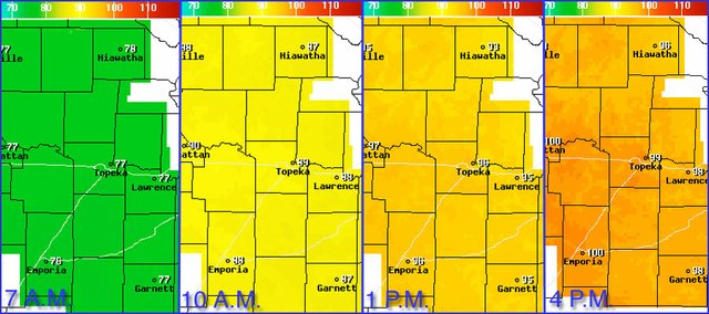 The projected temperatures in eastern Kansas for Tuesday, July 19, 2011, according to the National Weather Service.